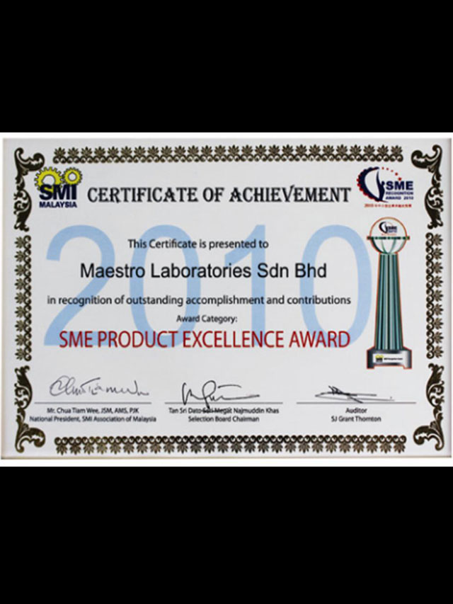 SME Product Excellence Award in 2010